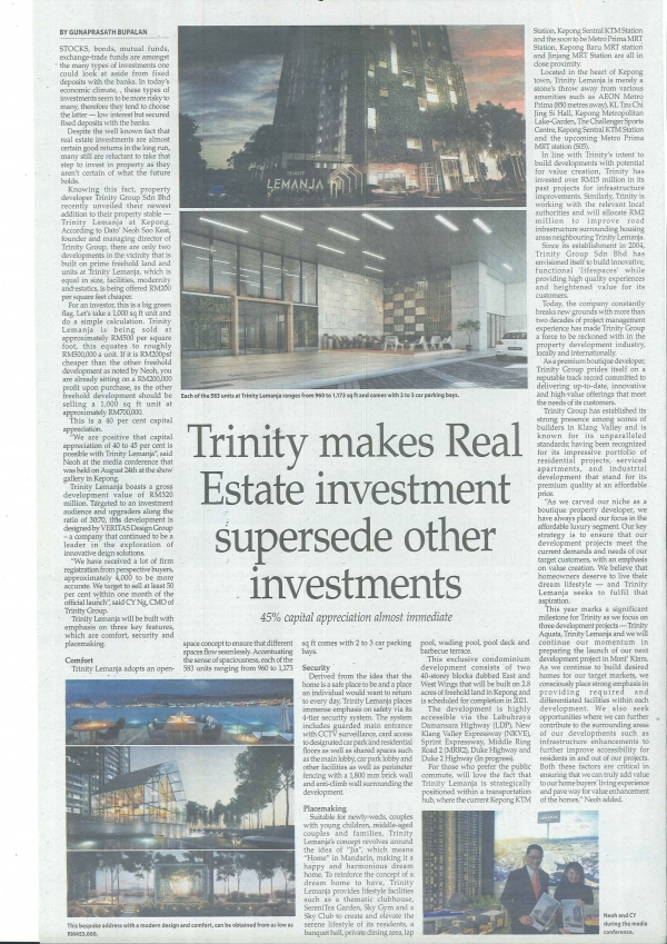 Trinity makes Real Estate investment supersede other investments