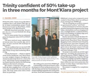 TRINITY CONFIDENT OF 50% TAKE-UP IN THREE MONTHS FOR MONT'KIARA PROJECT